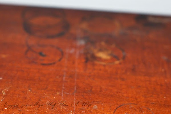 Drink stains on dresser top