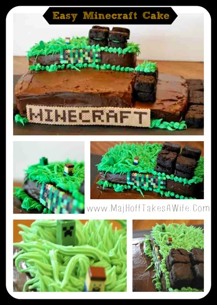 This Minecraft cake is a cinch to make! Forget the expensive bakery cake and use this for your Minecraft party! I've got your Minecraft party ideas covered! via @mrsmajorhoff