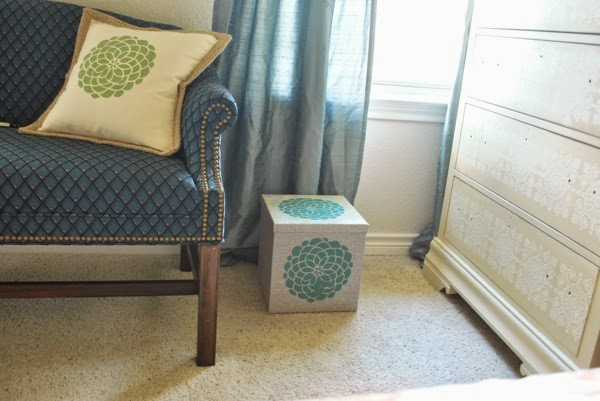 Stenciled Flower box with pillow
