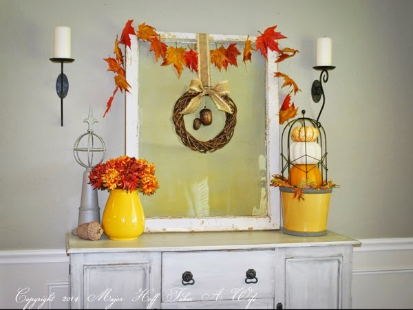 Dining room buffet dressed for fall