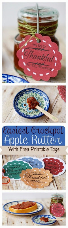 Easiest Crockpot Apple Butter with Free printable Tags