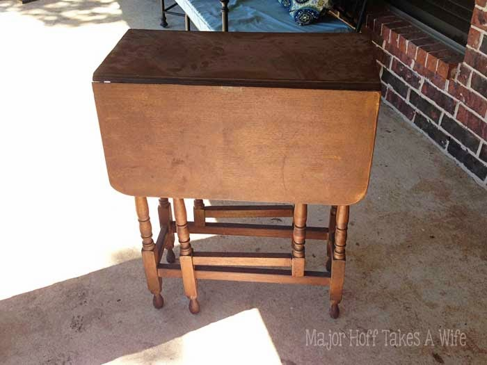 Gate Leg table before painting Dusty and in need of repair