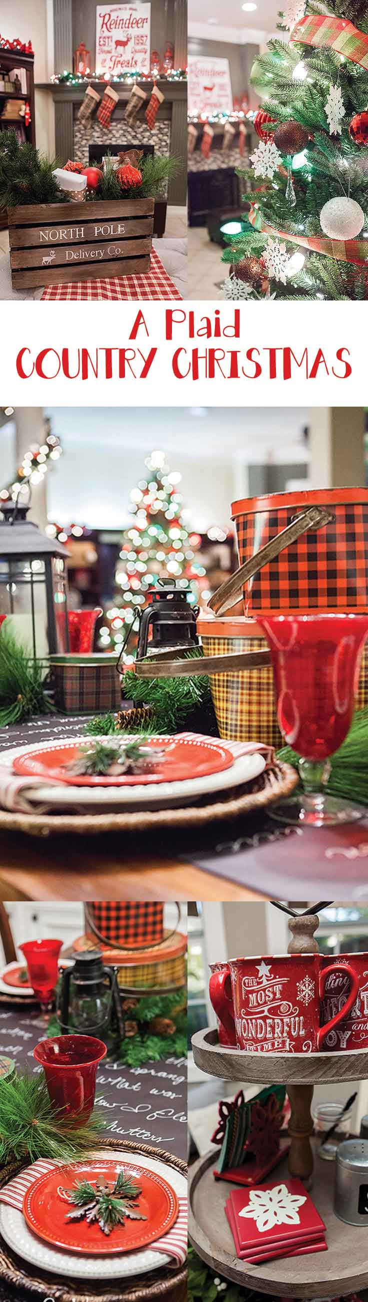A truly stunning Christmas Home Tour as part of the Christmas in the Country Blog Tour. This Plaid Inspired Country Christmas will knock your socks off. Features tours of the Living room, Dining Room and a Cocoa hot chocolate bar in the Breakfast room. There is so much inspiration for Christmas decorations in this one post. Be prepared to feel like you are cuddled up by the fire in a warm Northwoods comfy cottage! #country #Christmas #Plaid #Holidaydecorating #Holiday ideas #Holidays via @mrsmajorhoff