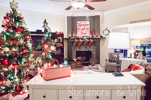 A living room decorated around the plaid Country Christmas theme