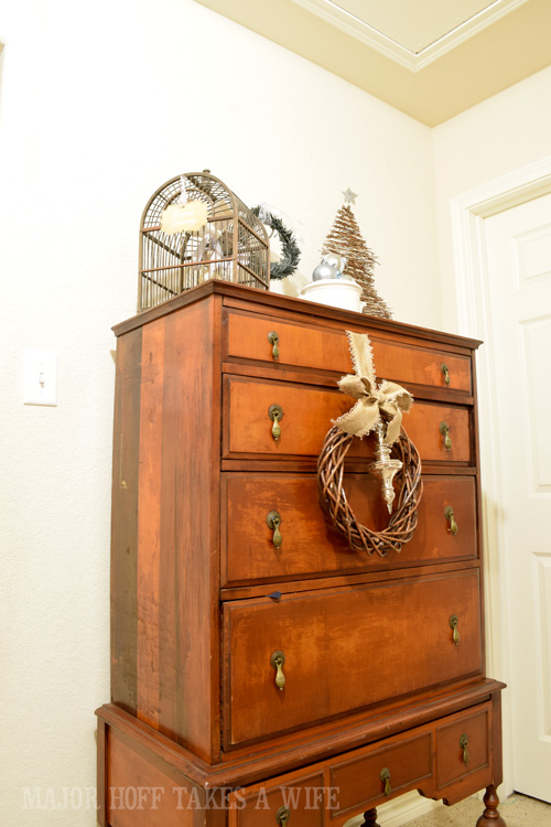 Antique Dresser with wreath for Christmas