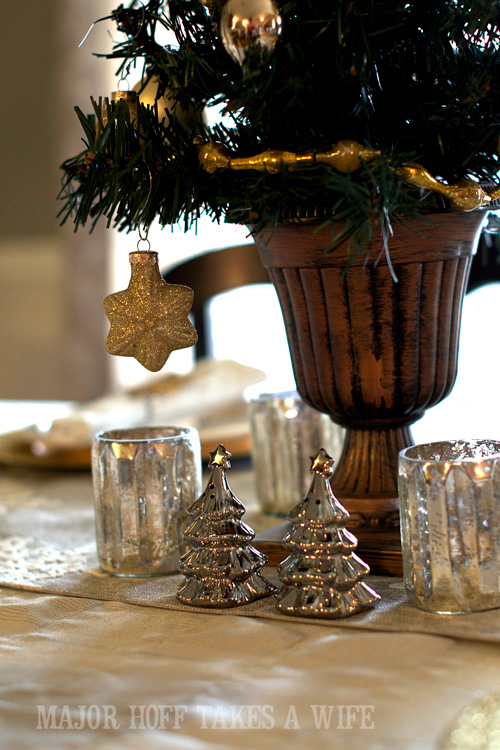 Mercury Glass Christmas Tree salt and pepper shakers. A delightful Dining Room Holiday Tour. See how Mrs Major Hoff decorates for Christmas. The tour features table decorations, dining room decorating ideas, place settings and an idea for  homemade Christmas gift that can be personalized for your holiday guests. This post is part of the Home For The Holidays Blog Tour.