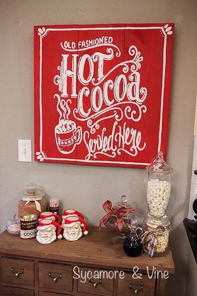 Old Fashioned Hot cocoa served here Sign