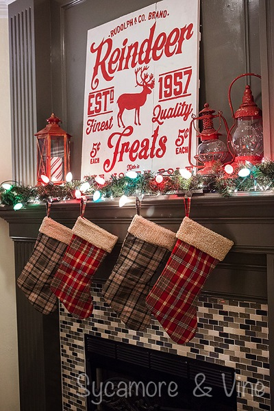 Plaid Country Christmas Fireplace Mantel.