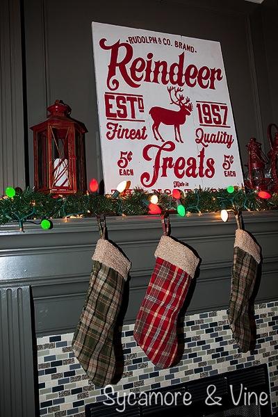 Plaid stockings add to the Plaid Country Christmas theme