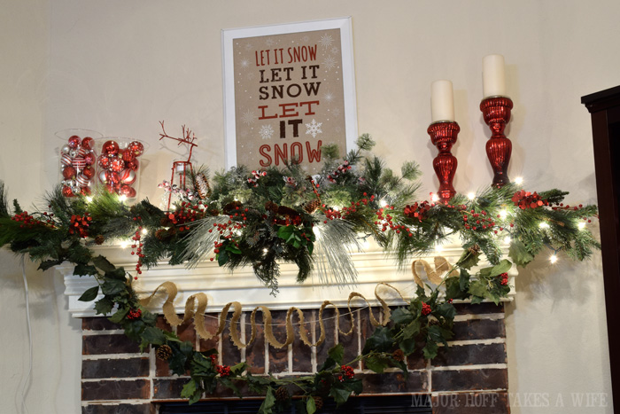 Red and Green Christmas Mantel