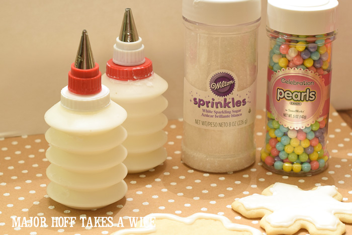 Supplies needed to ice Christmas Sugar Cookies.