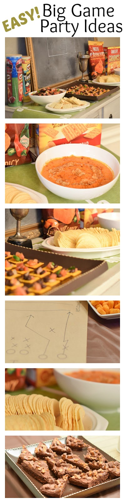 Easy party ideas for your Big Game Party! An easy to throw party for the Big Game. Features easy party ideas for snacks, dips and decor. Includes a recipe for Roasted Red Pepper Hummus without seeds! #BigGameSnacks #collectiveBias #ad