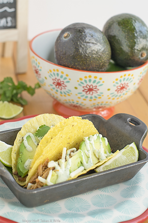 Cilantro Aoili makes the perfect topping for avocado pork tacos