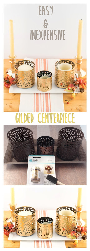 Easy Inexpensive gilded centerpiece! Ever wanted to gild something? It's so easy! This post walks you through gilding a centerpiece perfect for Thanksgiving. Features projects from 6 other bloggers. You'll want to turn everything gold! #gold #gilding #howto #craft #centerpiece #Thanksgiving #Table #decor