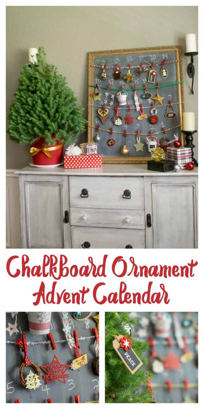 Chalkboard Ornament Advent Calendar using a tabletop tree and an oversized chalkboard to hold 24 ornaments