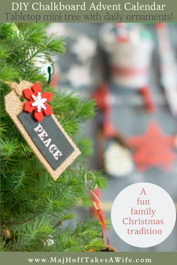 See how easy it is to create a fun and unusual advent calendar that kids love! This easy to create DIY homemade advent calendar uses a simple table top tree, a chalkboard frame, and ornaments! Use standard ornaments, homemade ornaments, or free printables- the choice is yours! One of the our families favorite Christmas ideas to count down the holiday season! via @mrsmajorhoff