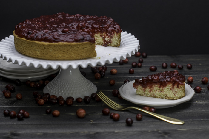Vanilla Cake with Cranberry Ginger Apple Compote 5 of 9