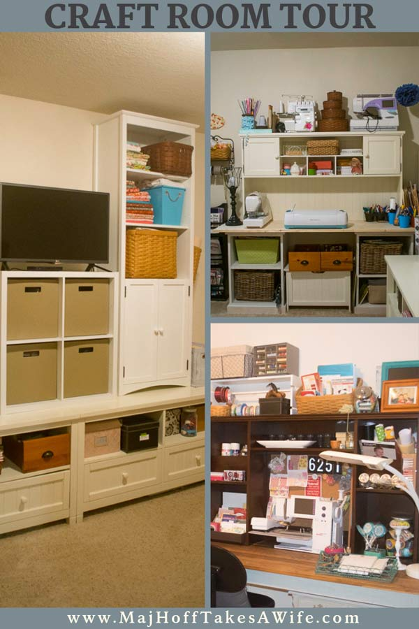 This craft room features 2 DIY Farmhouse style desk / tables and more storage pieces picked up for extra organization. Clever ideas for storage of all your essentials while on a budget! via @mrsmajorhoff