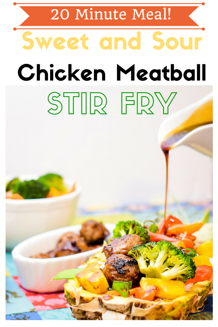 #AD Sweet and Sour Chicken Meatball Stir Fry. Take advantage of fresh summer produce and the ease of Aidells® Meatballs! Easy to prepare with a recipe for a homemade sweet and sour sauce. Can be modified to be gluten free. #UncompromisingFlavor #CollectiveBias