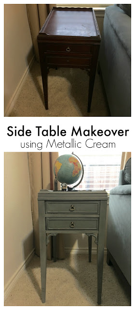 A fun side table gets a makeover with Country Chic All in One paint and Country Chic Metallic Accent Cream. Be sure to see the step by step process to making this little table **Sparkle**.