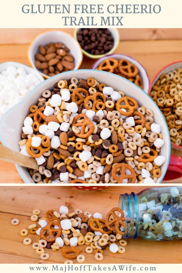 Gluten Free Cheerios Trail Mix is a perfect on the go snack. This easy recipe features gluten free pretzels, marshmallows and nuts. Enjoy your favorite childhood cereal in a whole new way! via @mrsmajorhoff