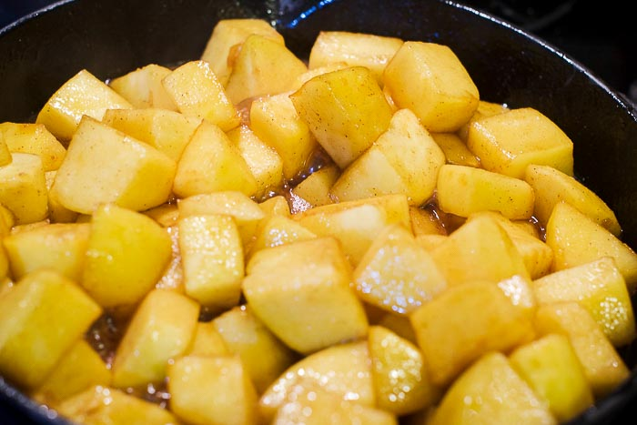 caramelizing apples in a cast iron skillet