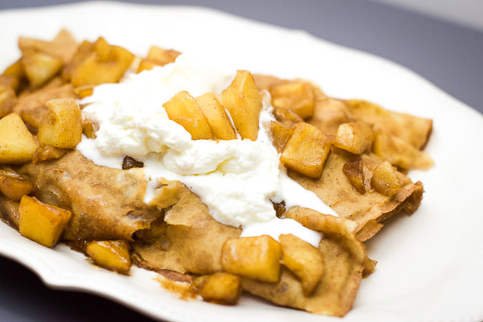 Carmalized Apple Crepes.