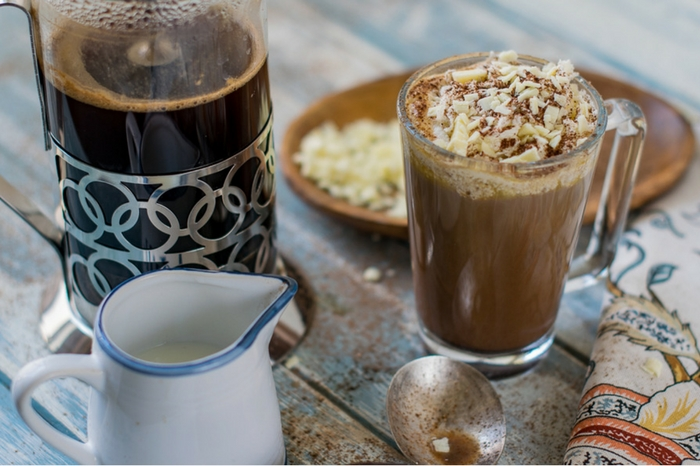 How to make a dark and white chocolate mocha