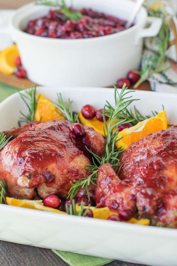 Cranberry Orange Cornish Hens for a simple Thanksgiving dinner