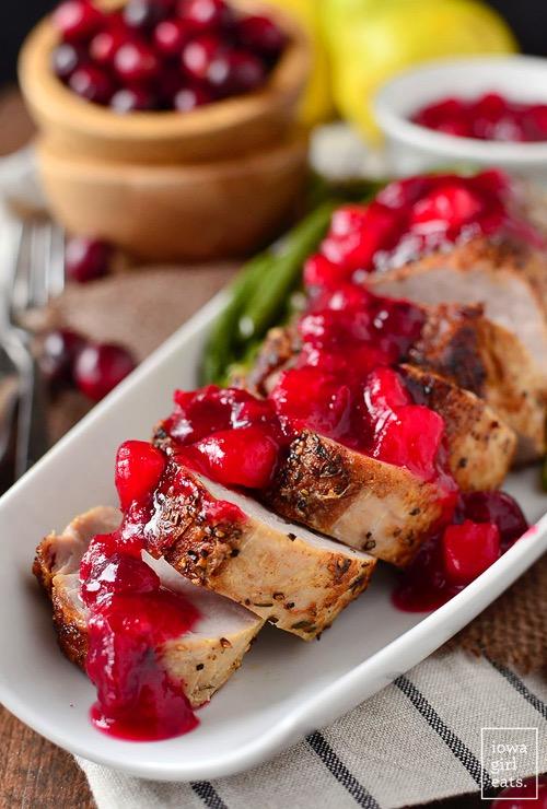 Roasted Pork Tenderloin with Cranberry Pear Sauce iowagirleats