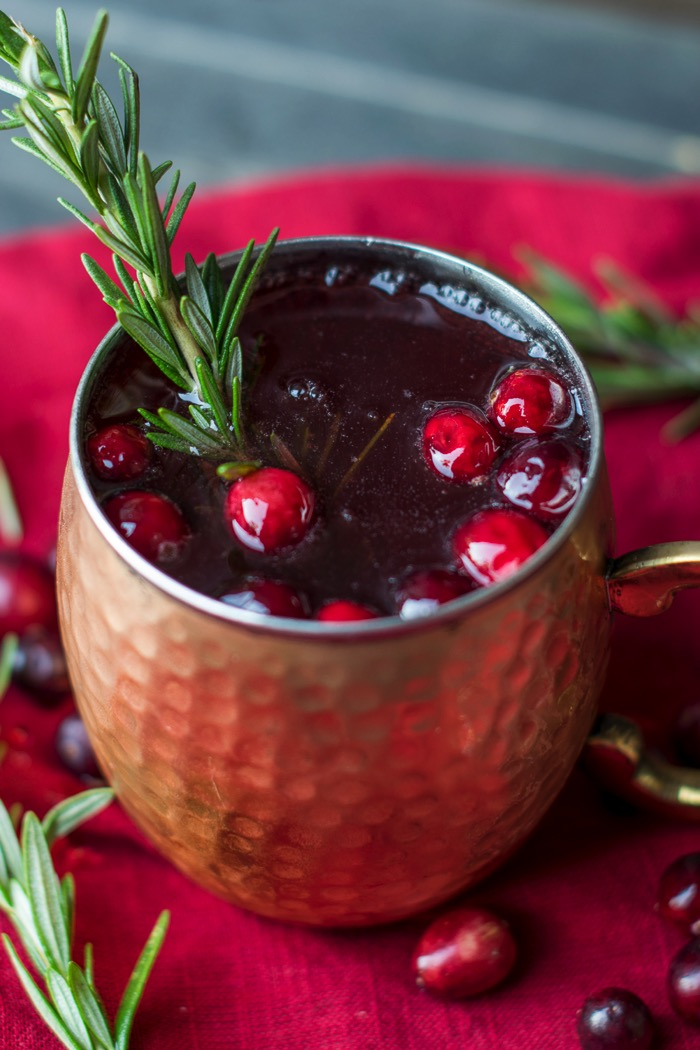 Rosemary Cranberry Moscow Mule Christmas alcoholic drink