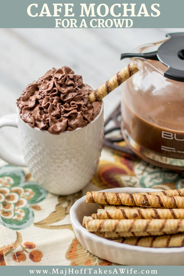 Skip the Starbucks drive thru and make this recipe for a cafe mocha at home! So easy, this will change the way you brew your morning coffee, or make you the hit of the party. Shows the secret to making several cups at once! #coffee #mocha #cafemocha #mocharecipe #MHTAW via @mrsmajorhoff