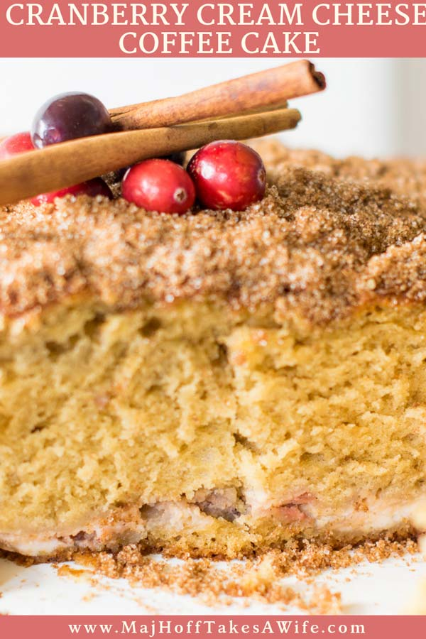 A cream cheese coffee cake loaded with cinnamon, cranberries, and cream cheese that just sets it over the top and makes it prefect for a holiday breakfast! Perfect recipe for those holiday brunches! You'll love this moist dense cake for breakfast or a snack! #holidayrecipe #Christmasbreakfast #cranberry #coffeecake #creamcheese via @mrsmajorhoff