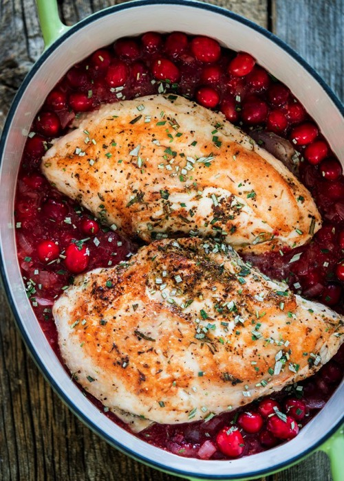 Roasted turkey with saucy cranberry sauce