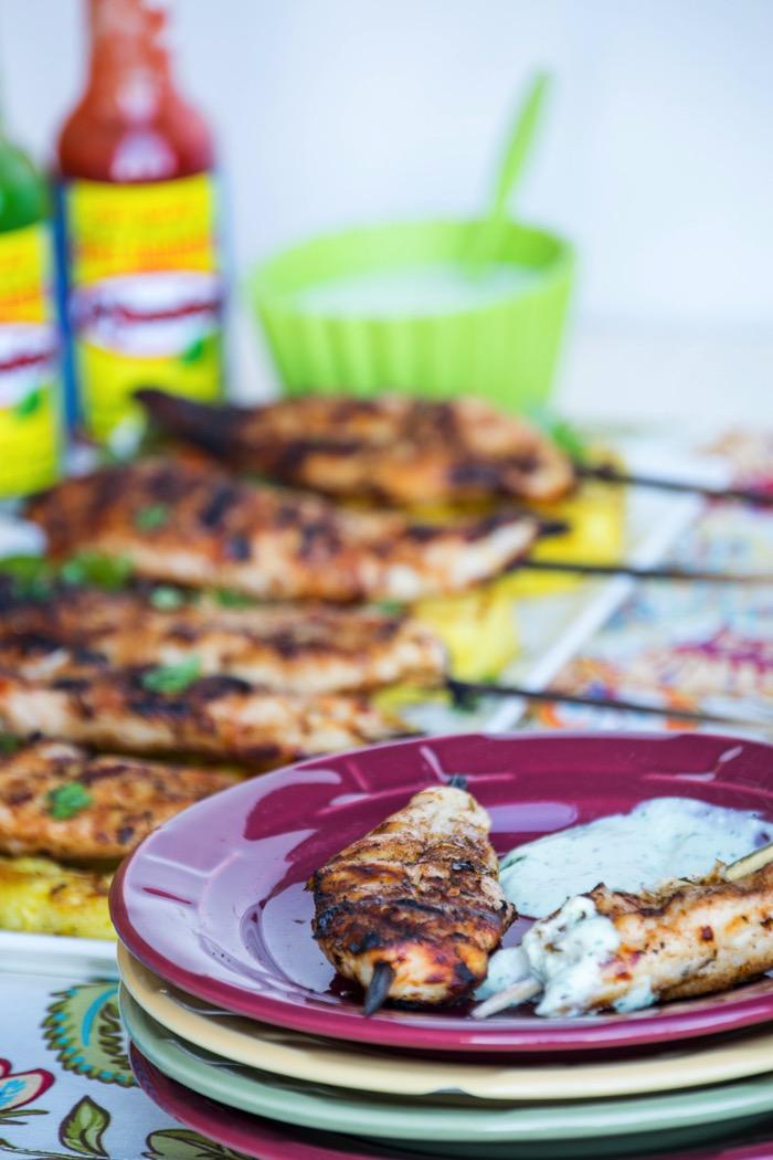 Jerk Chicken Skewers with Aioli Sauce