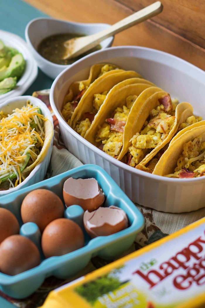 Egg tacos for a crowd using happy eggs