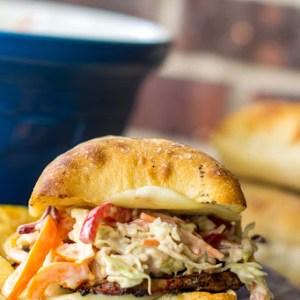 Grilled Pork Tenderloin Sandwich with Balsamic Pepper Coleslaw