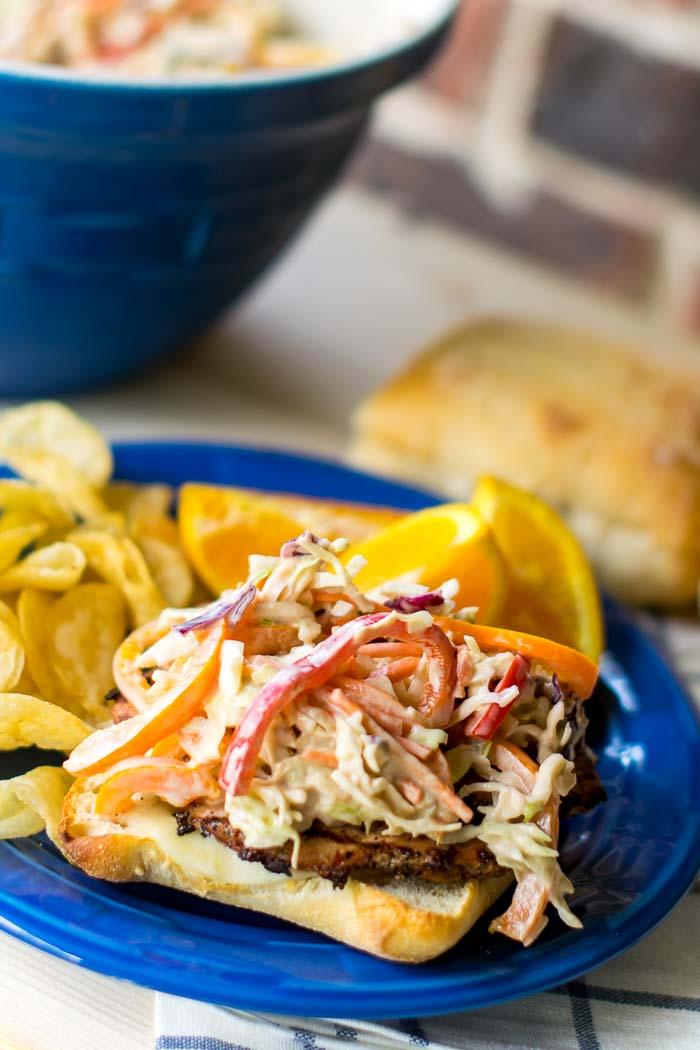 Grilled PorkTenderloin Sandwich with Balsamic Pepper Coleslaw 107