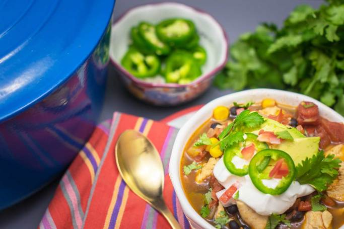 Using canned veggies saves time with this chicken chili!