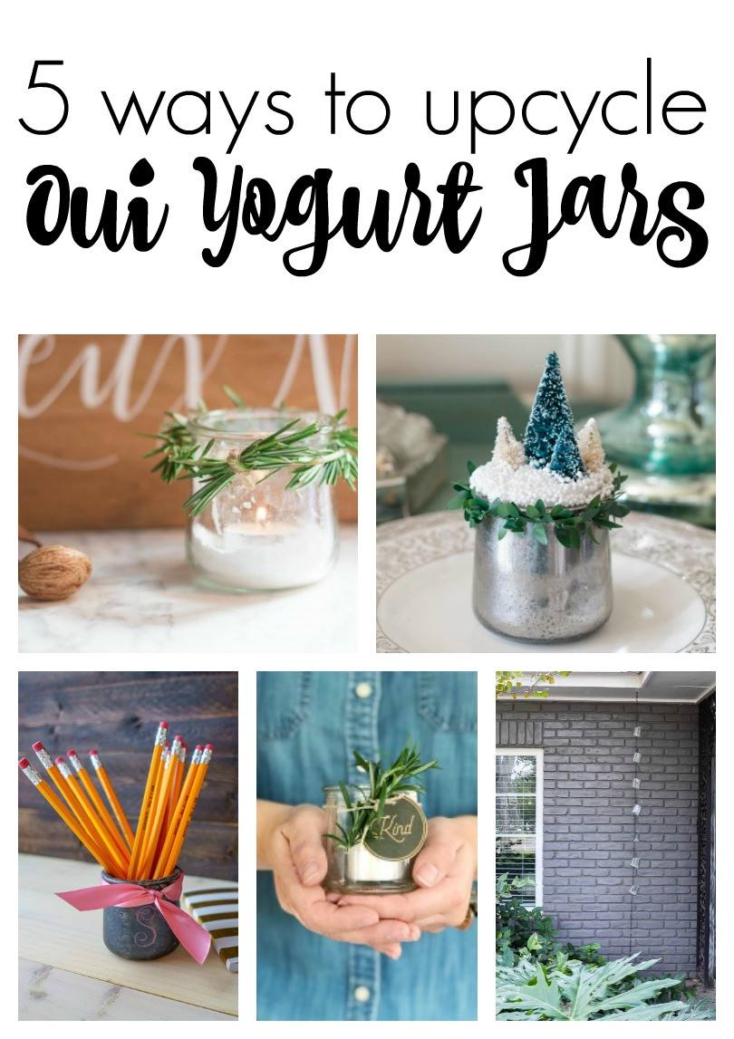 5 ways to epicycle oui yogurt jars. From sea glass, mercury glass, to galvanized metal. Check them all out! via @mrsmajorhoff