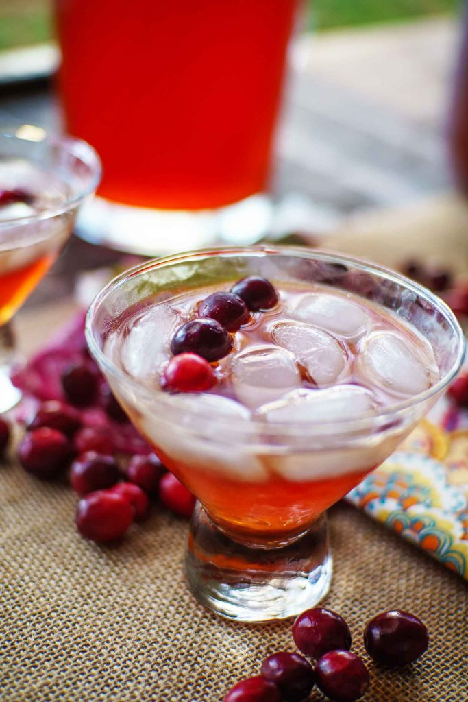 Cranberry tea punch is a perfect holiday beverage. It's a great mocktail full of sweet tea, cranberry cherry juice, and soda for bubbles.
