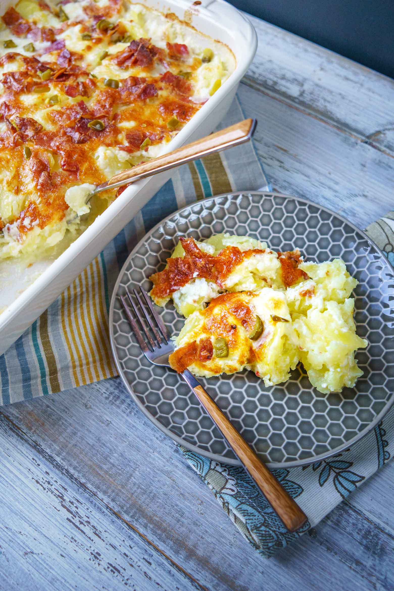scalloped potatoes with jalapeño jack cheese and bacon