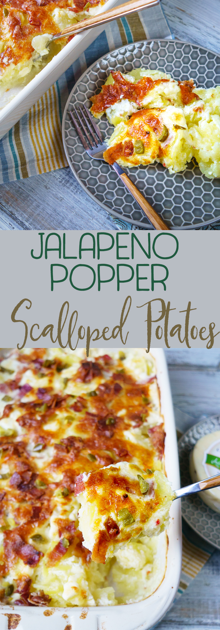 Scalloped potatoes with bacon and jalapenos adds a spicy twist on your favorite creamy and cheesy dish. Features jack cheese, cream cheese, bacon and more!  #scallopedpotatoes #potatoesaugratin #bacon  via @mrsmajorhoff
