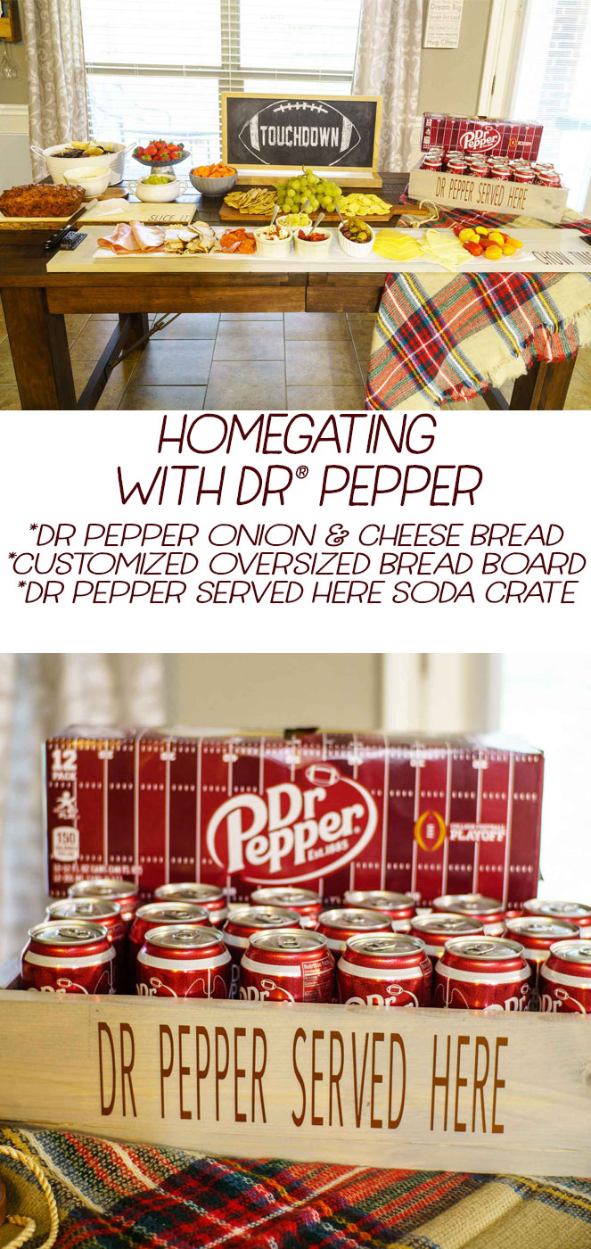 Homegating with Dr Pepper: Dr Pepper onion & cheese bread, DIY Customized oversized bread board, Dr Pepper Served here soda crate #ad @DrPepper #homegatechamp via @mrsmajorhoff