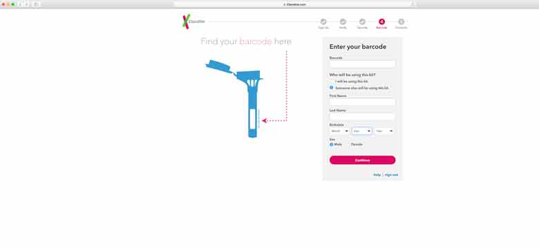 registering a dna kit with 23andme