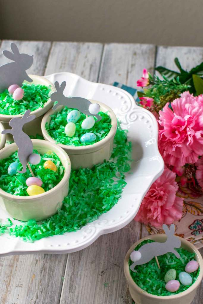 spring desserts with bunny rabbit dessert picks