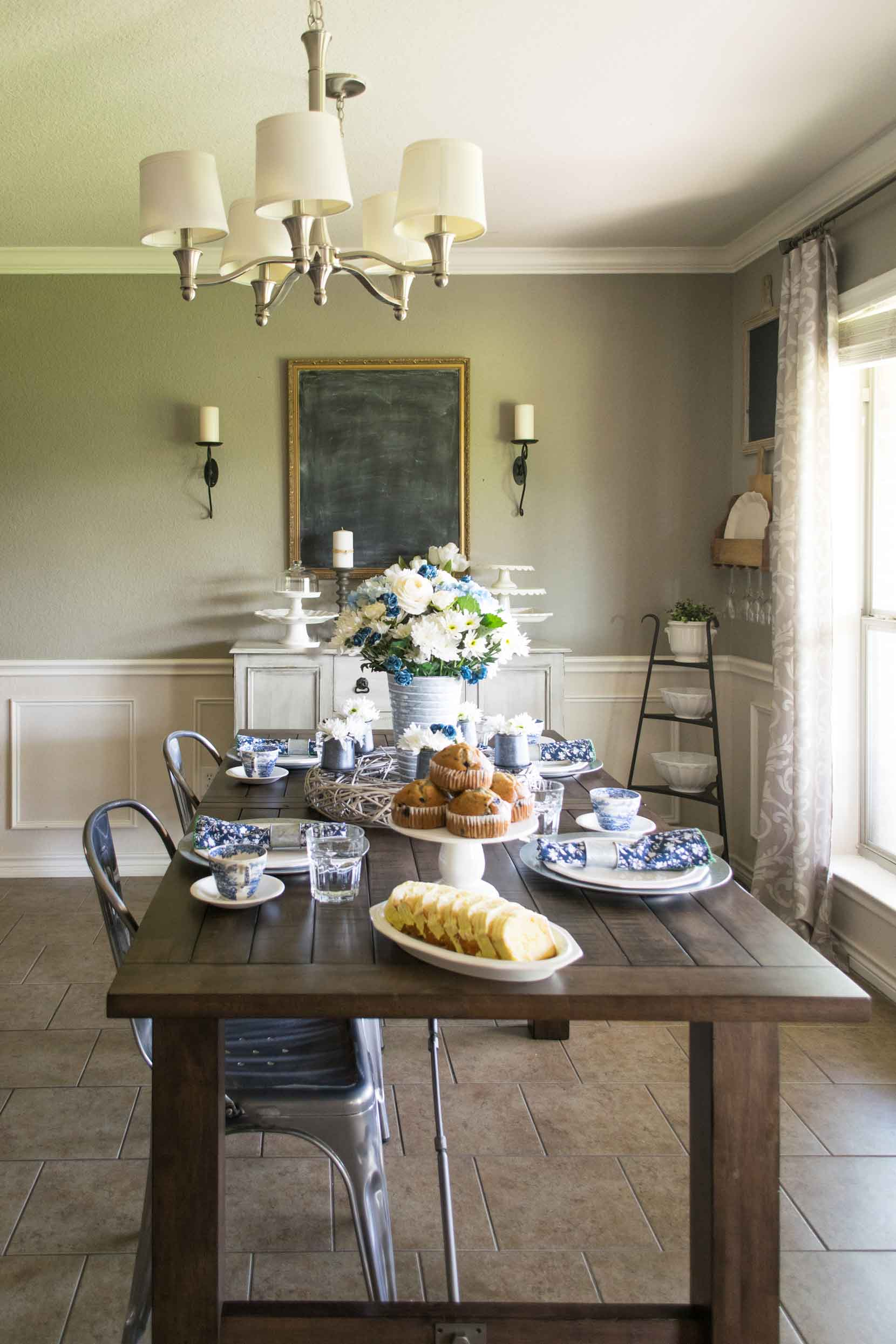 Dining room set for spring with blue and white accents