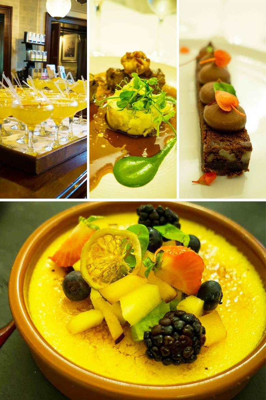 photo of Irish drinks, Irish lamb and potatoes, a chocolate bar and creme brulee
