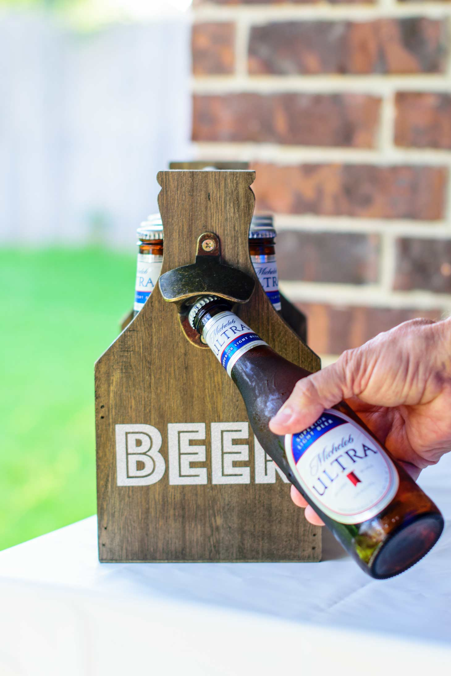 Michelob Ultra in a customized beer caddy