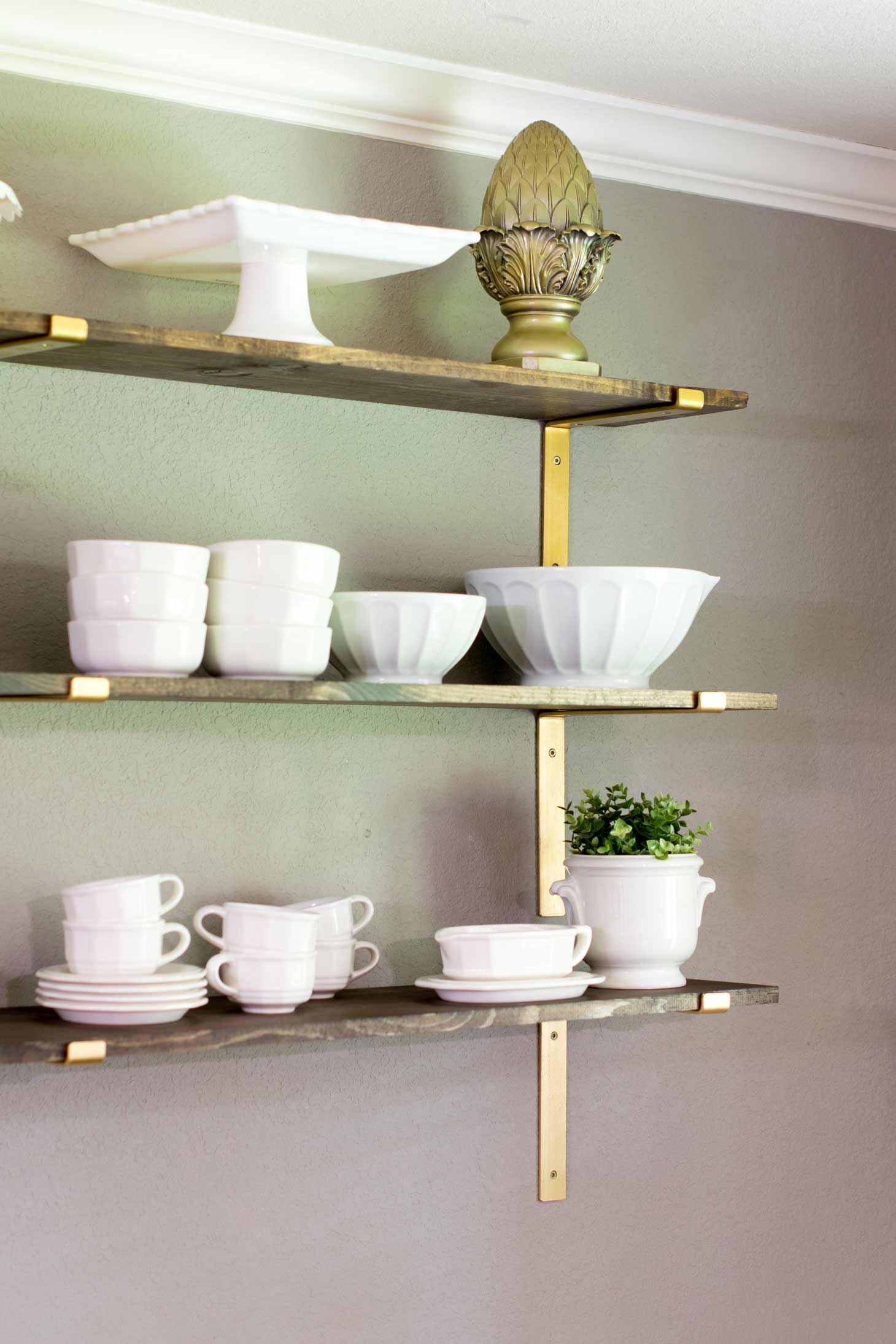open shelving in a dining room for a farmhouse look